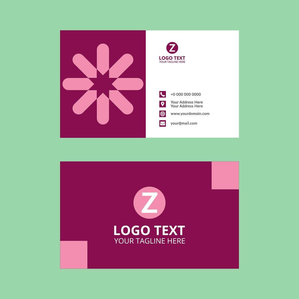 plantilla de tarjeta de visita de forma de flor abstracta geométrica rosa vector
