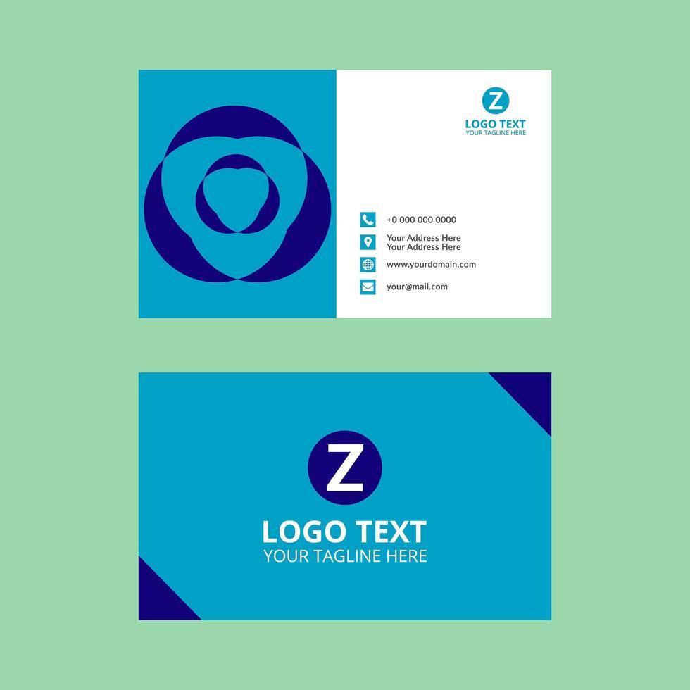 plantilla de tarjeta de visita de forma simple abstracta azul vector