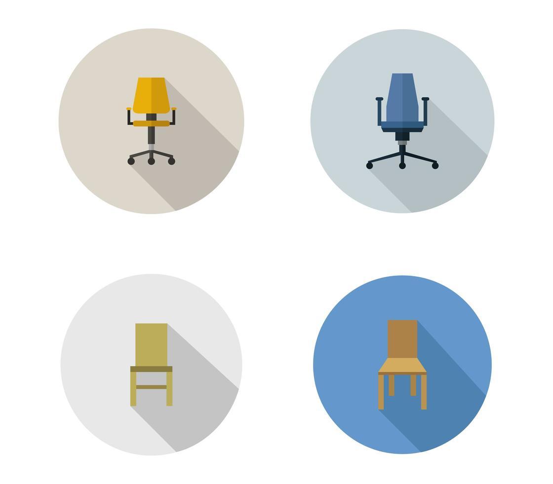 conjunto de iconos de sillas de oficina vector