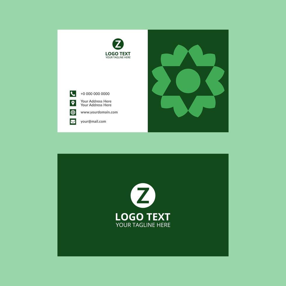 tarjeta de visita verde geométrica en forma de estrella vector