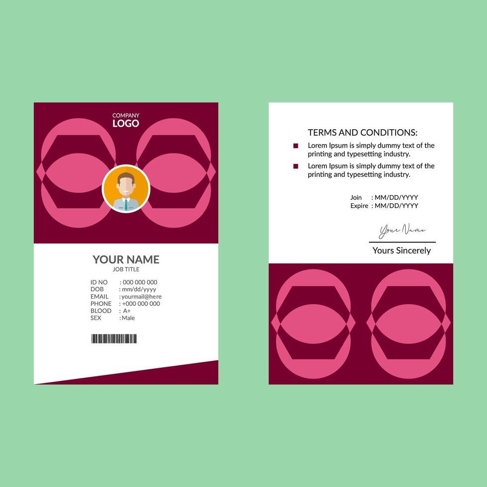 plantilla de tarjeta de identificación de forma geométrica rosa vector