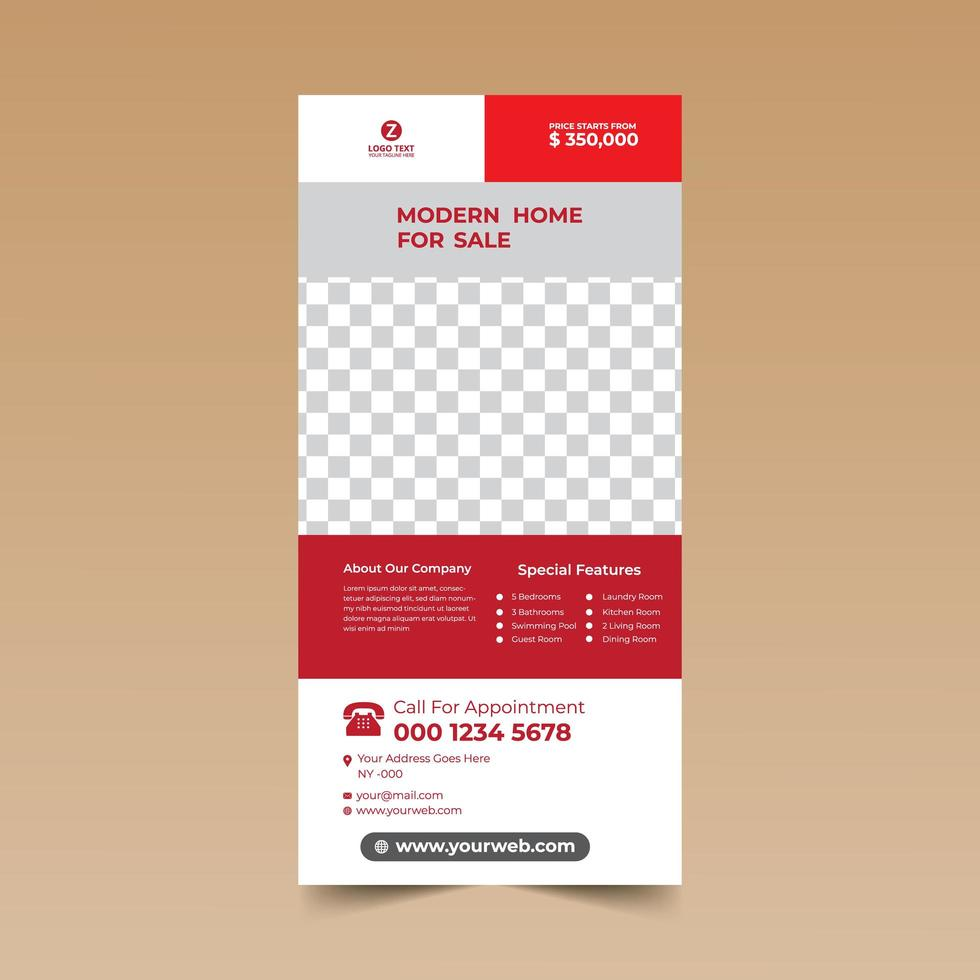 plantilla de tarjeta de folleto vertical rojo y blanco vector