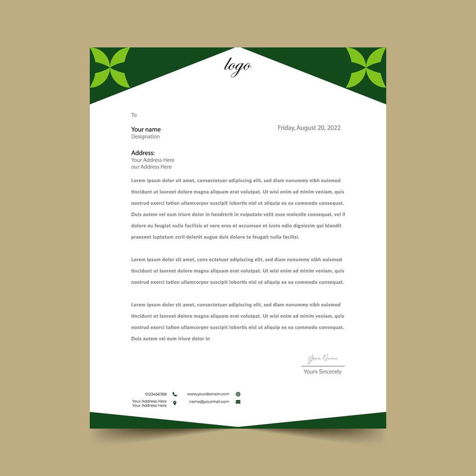 plantilla de membrete de forma abstracta verde vector