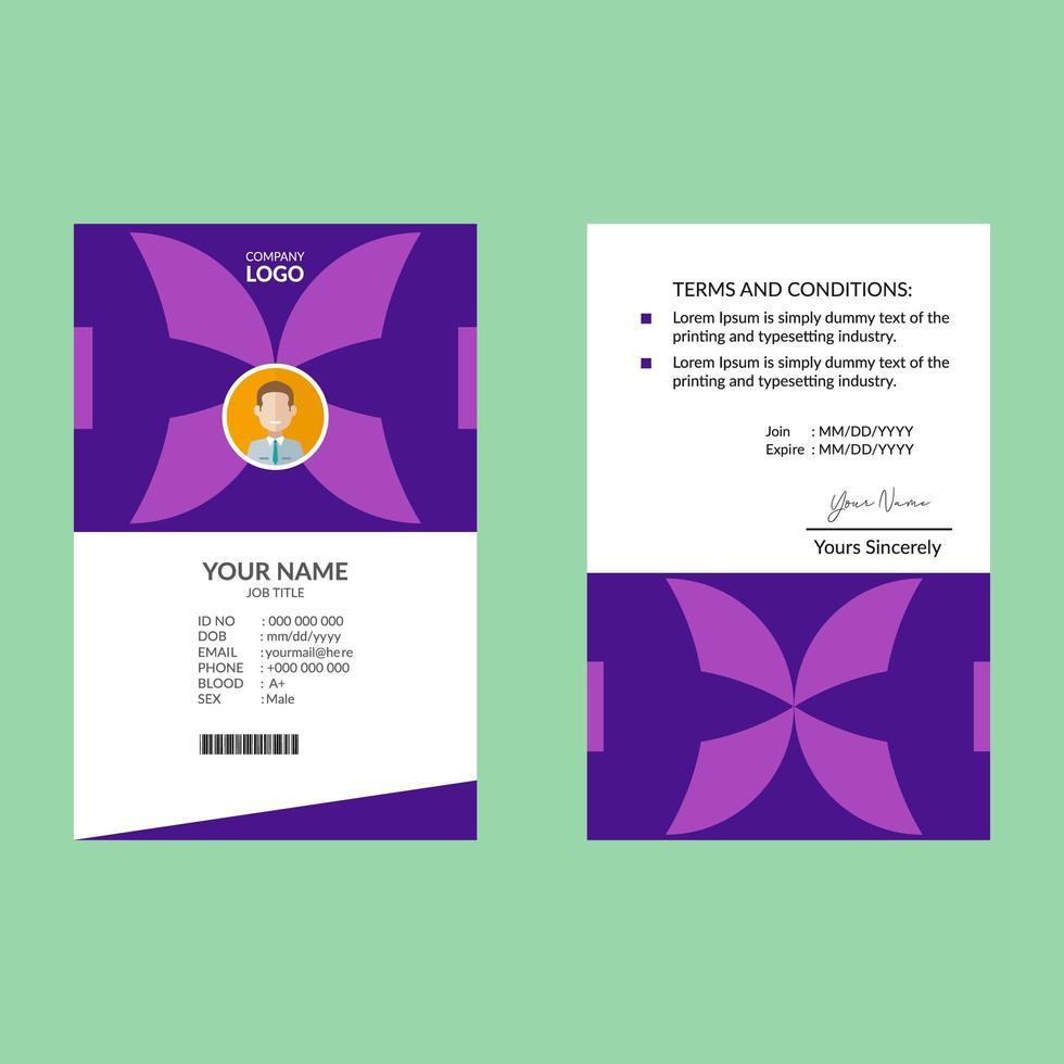 plantilla de diseño de tarjeta de identificación vertical púrpura vector