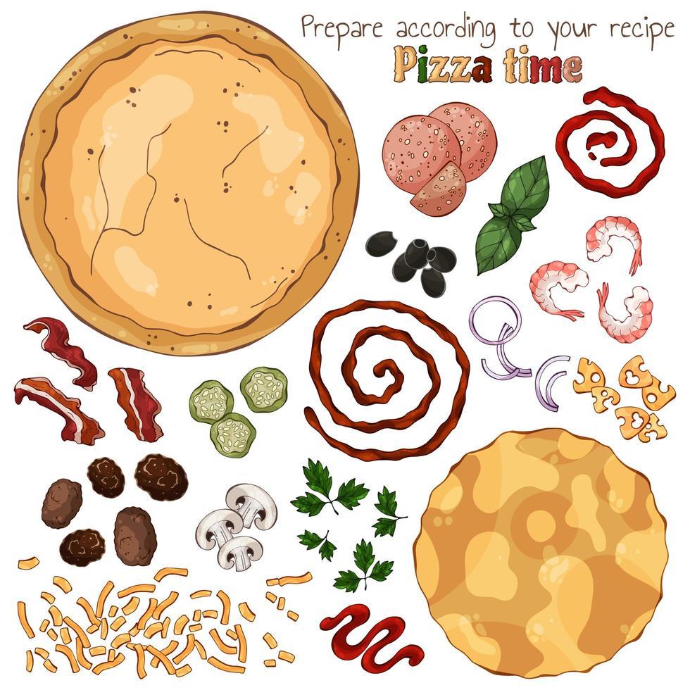 Grupo de ilustraciones coloridas de vector sobre el tema del tiempo de pizza, conjunto de productos aislados para cocinar pizza.