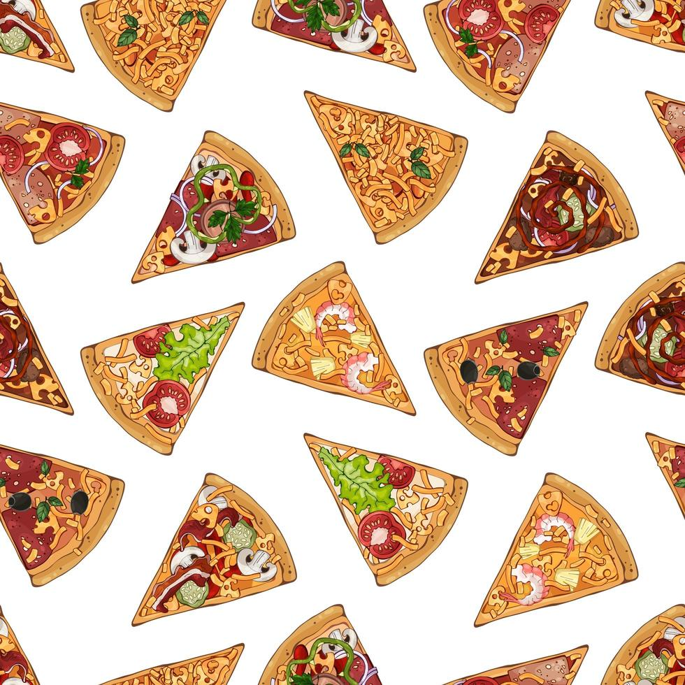 Pizzas mix pattern vector