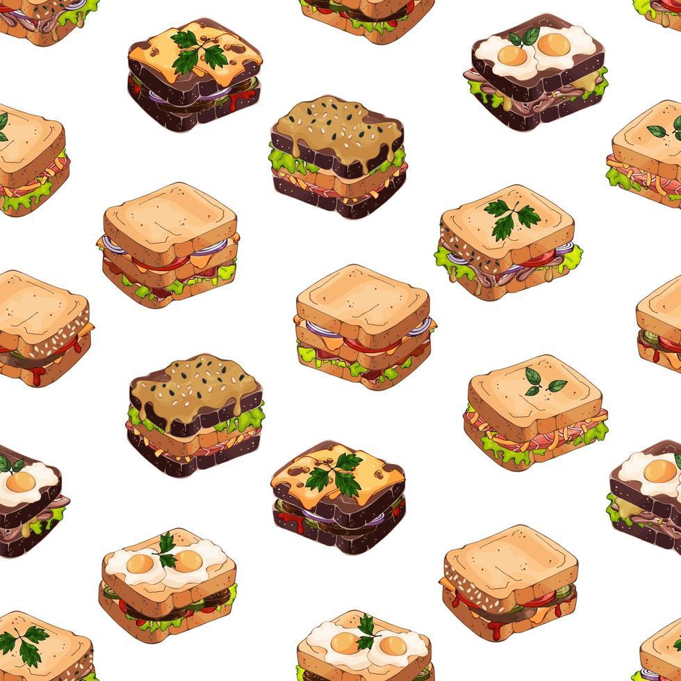 patrón de tipos de sandwiches vector