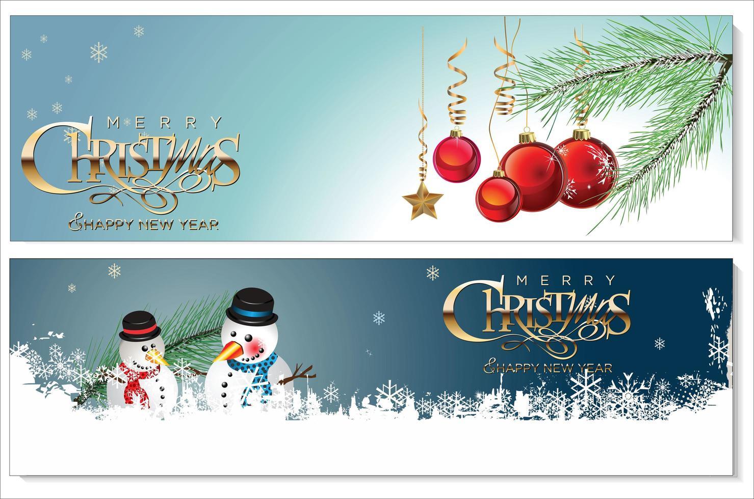 conjunto de banners nevados de navidad vector