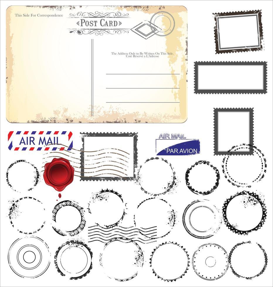 conjunto de diseño vintage retro tarjeta postal vacía vector