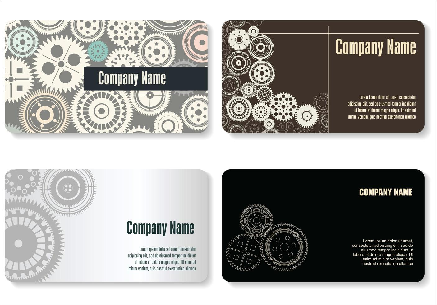 Modern Gear Business Card Set  vector