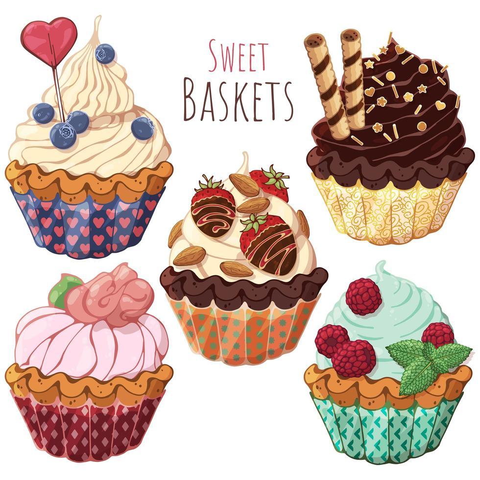grupo de canastas dulces vector
