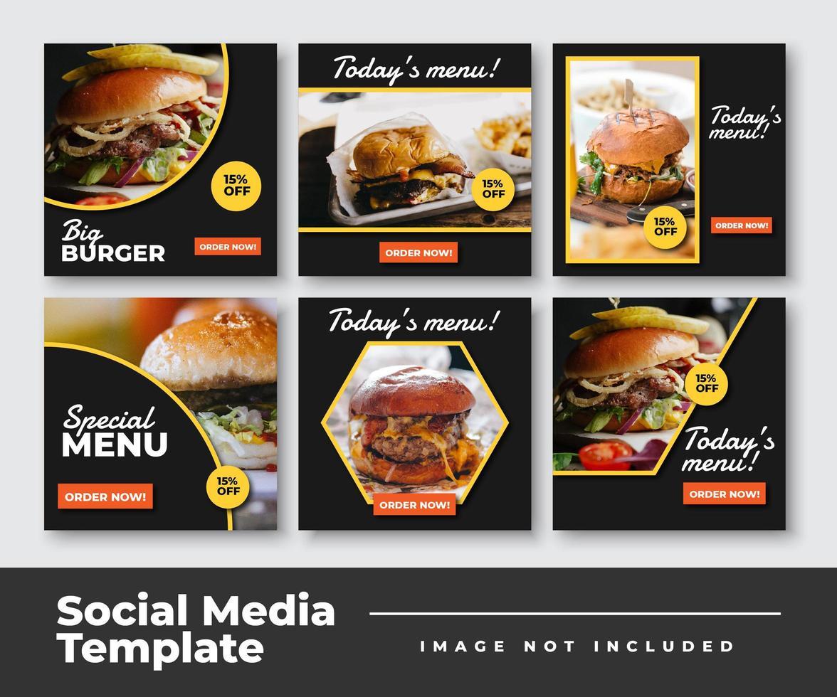 colección de plantillas de publicaciones de redes sociales de alimentos vector