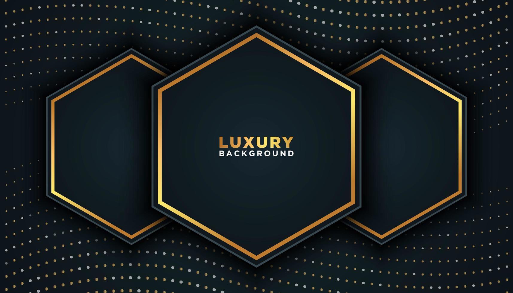 Fondo de lujo negro con puntos dorados y hexágonos vector