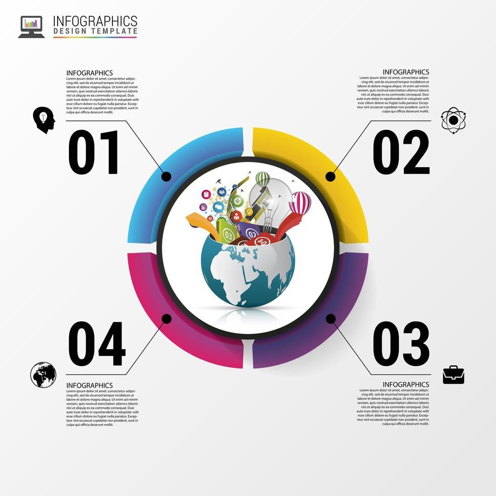Opción de círculo moderno negocio infografía vector