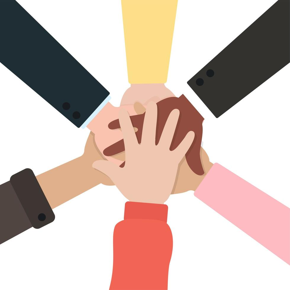 People holding hands together vector