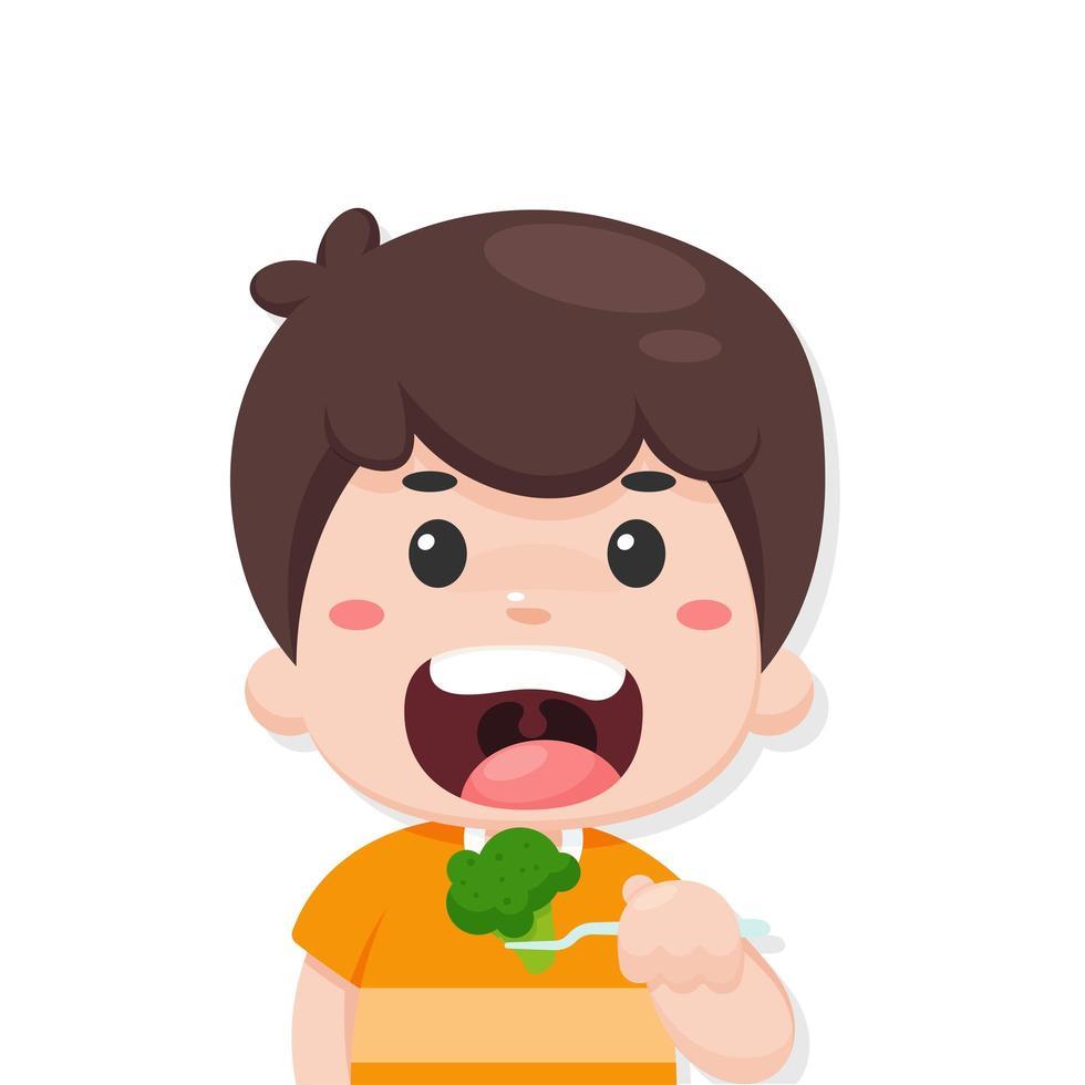 Vector De Dibujos Animados Niño Comiendo Un Brócoli Vegetales Saludables Son Un Delicioso Desayuno Descargar Vectores Gratis Illustrator Graficos Plantillas Diseño