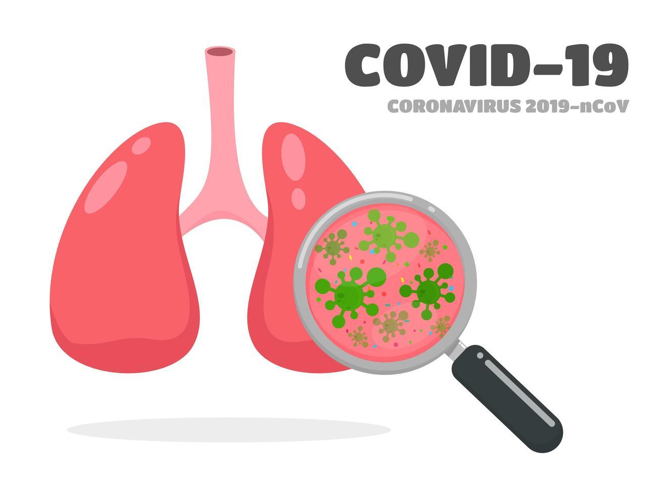 covid-19 o pulmones coronavirus vector