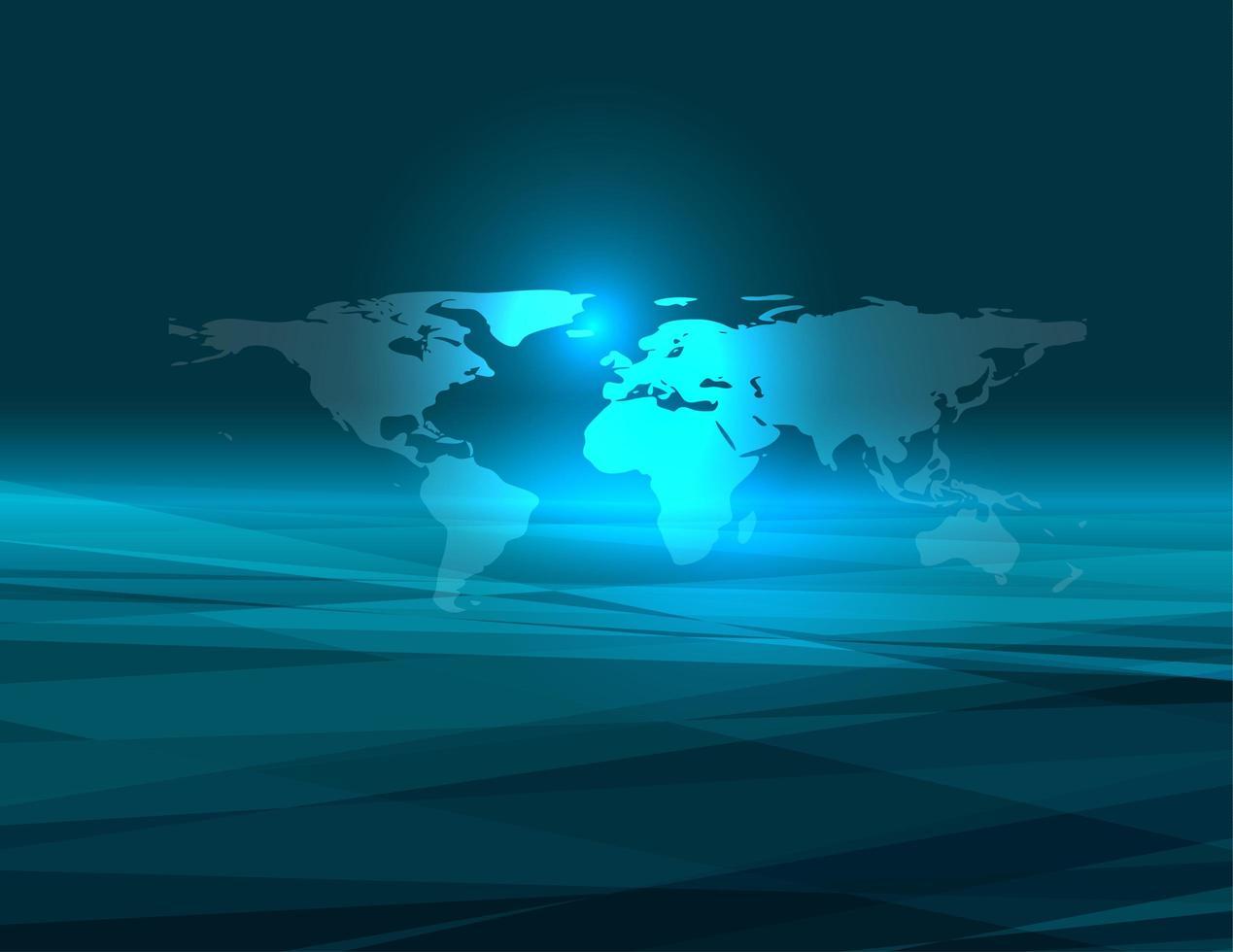 Fondo de tecnología azul mundo abstracto vector