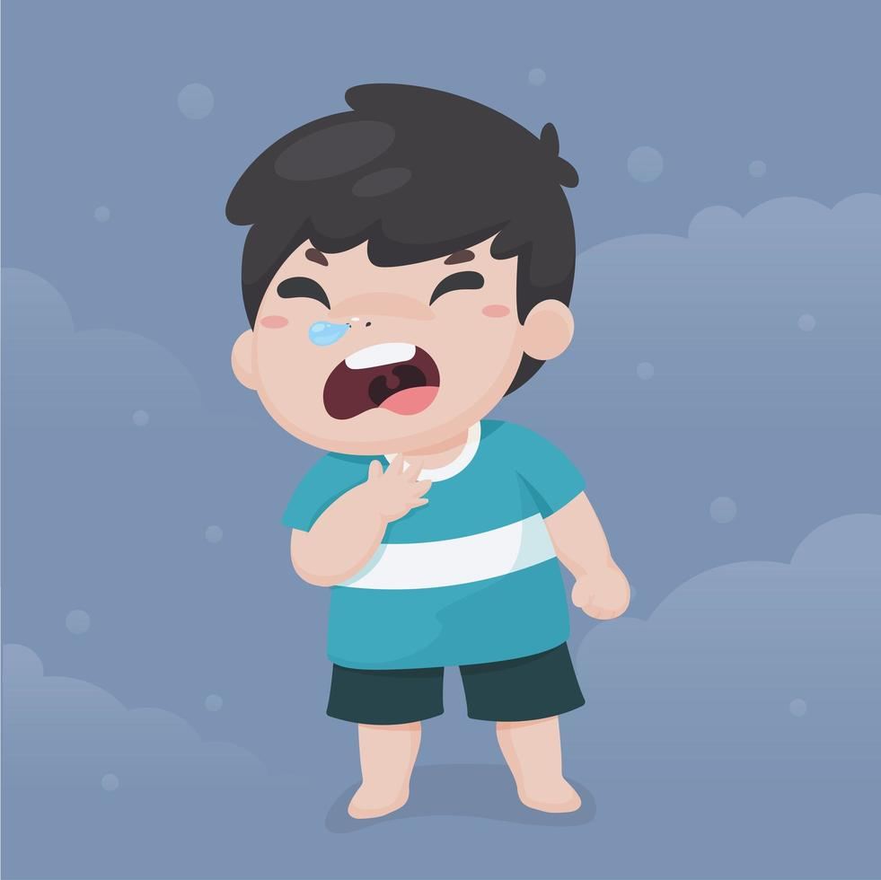 niño enfermo con dolor de garganta vector