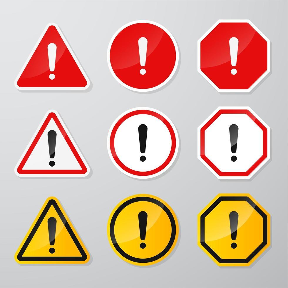 conjunto de señales de advertencia de peligro rojo y negro vector