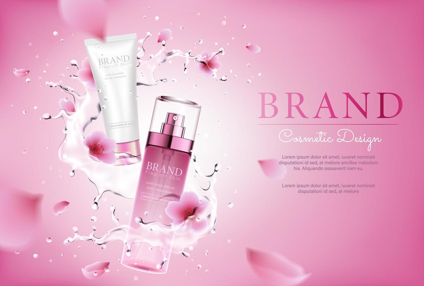 cosmétique de fleur de cerisier avec éclaboussures et fond rose vecteur