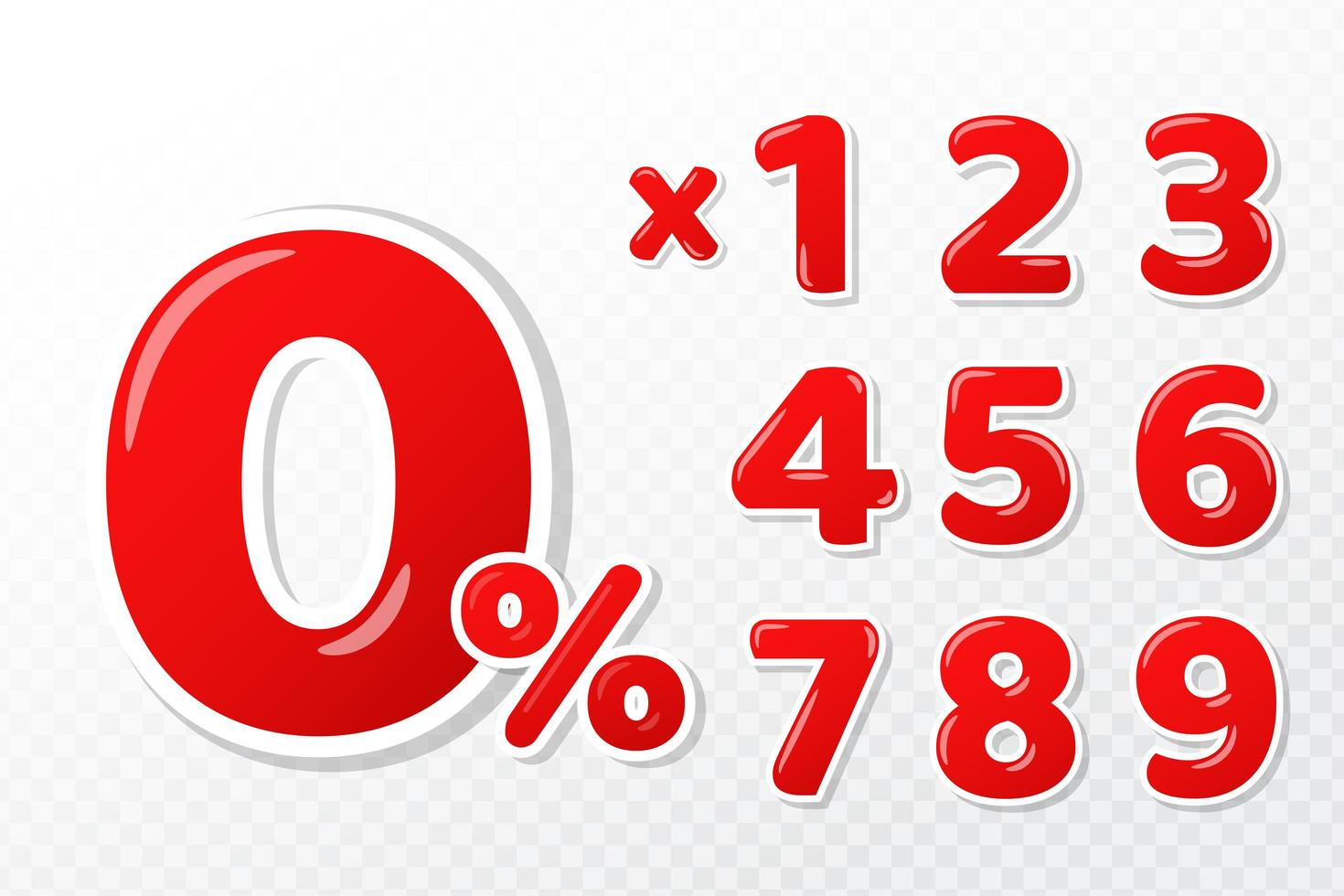 Conjunto de números rojos 3D vector