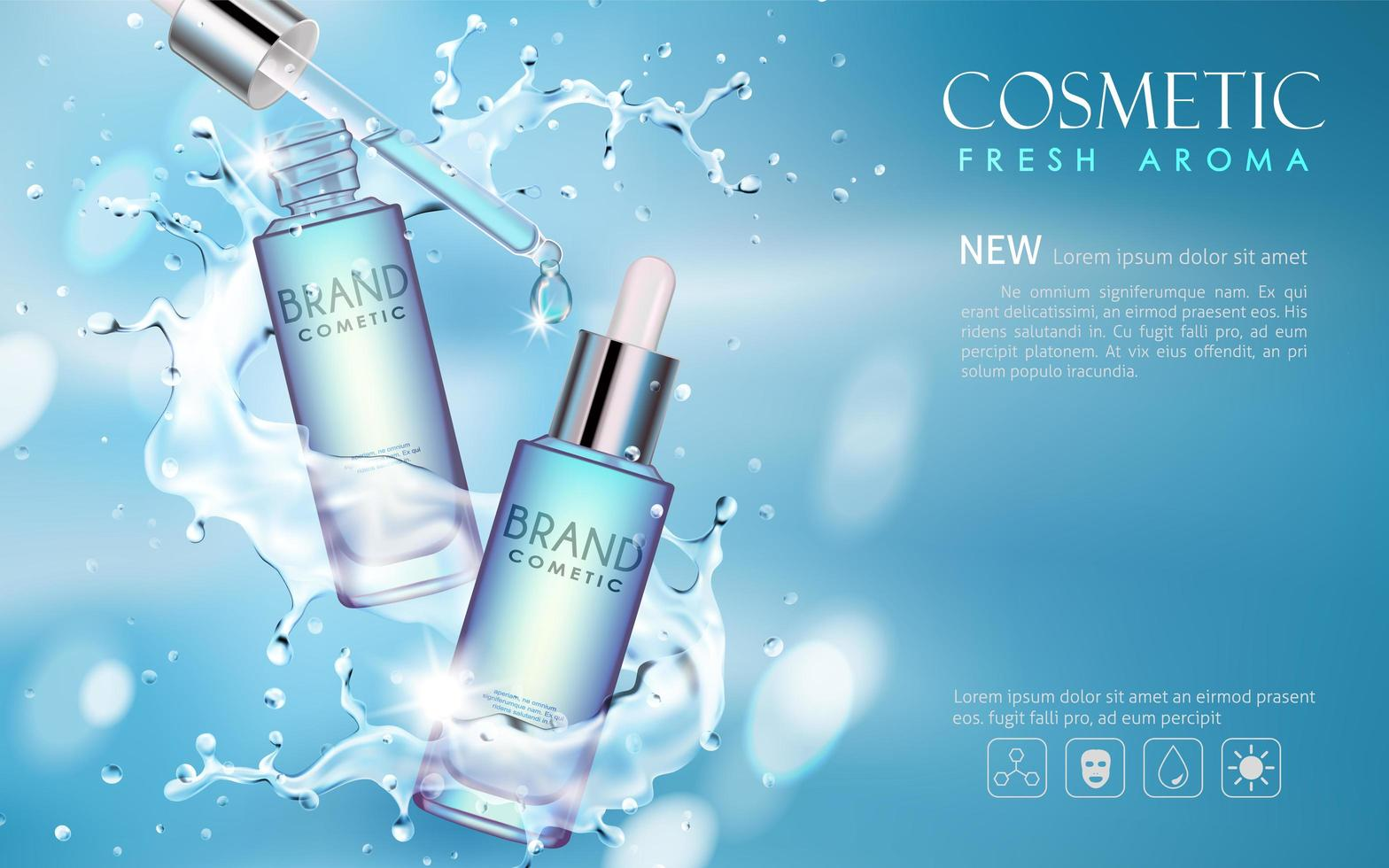 Serum cosmetic mockup with water background vector