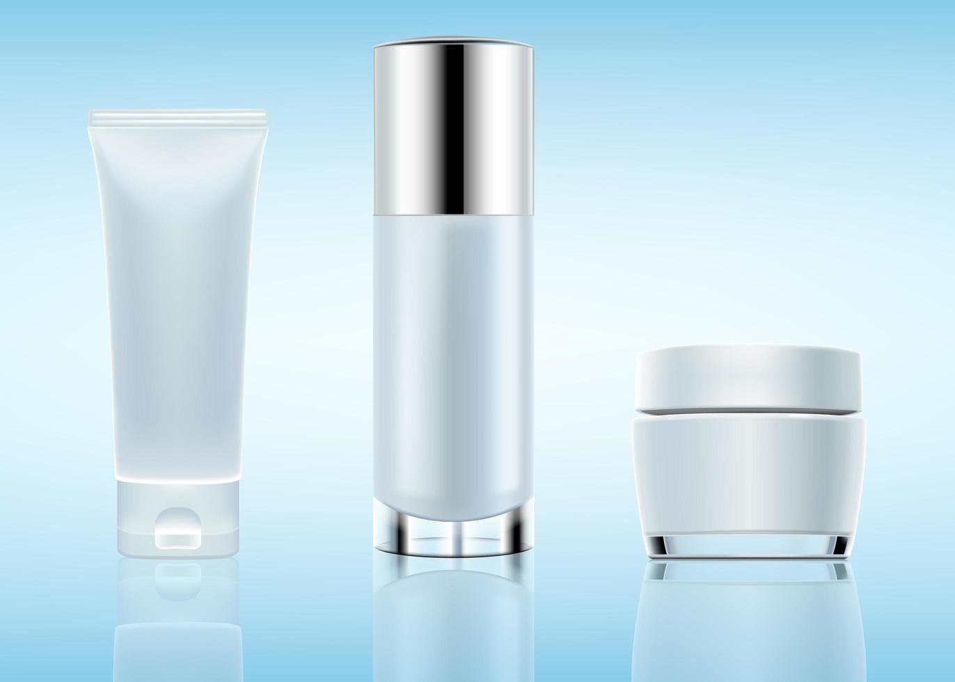 establecer maqueta de botella cosmética vector