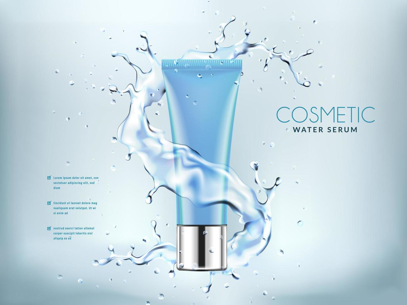 Blue cosmetic bottles with splashing water background vector