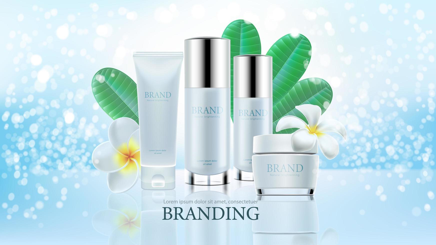 kosmetische Produktanzeigen auf blauem klarem Hintergrund vektor