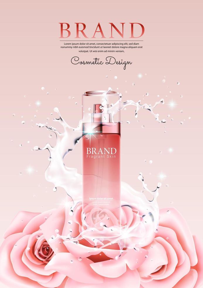 crema publicitaria con salpicaduras de agua y pétalos de rosas vector