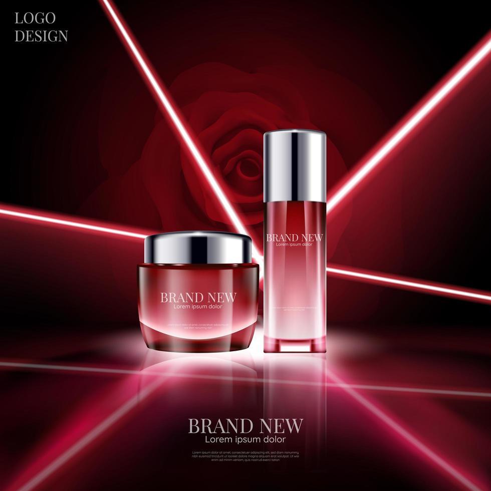 diseño cosmético con fondo rojo brillante vector