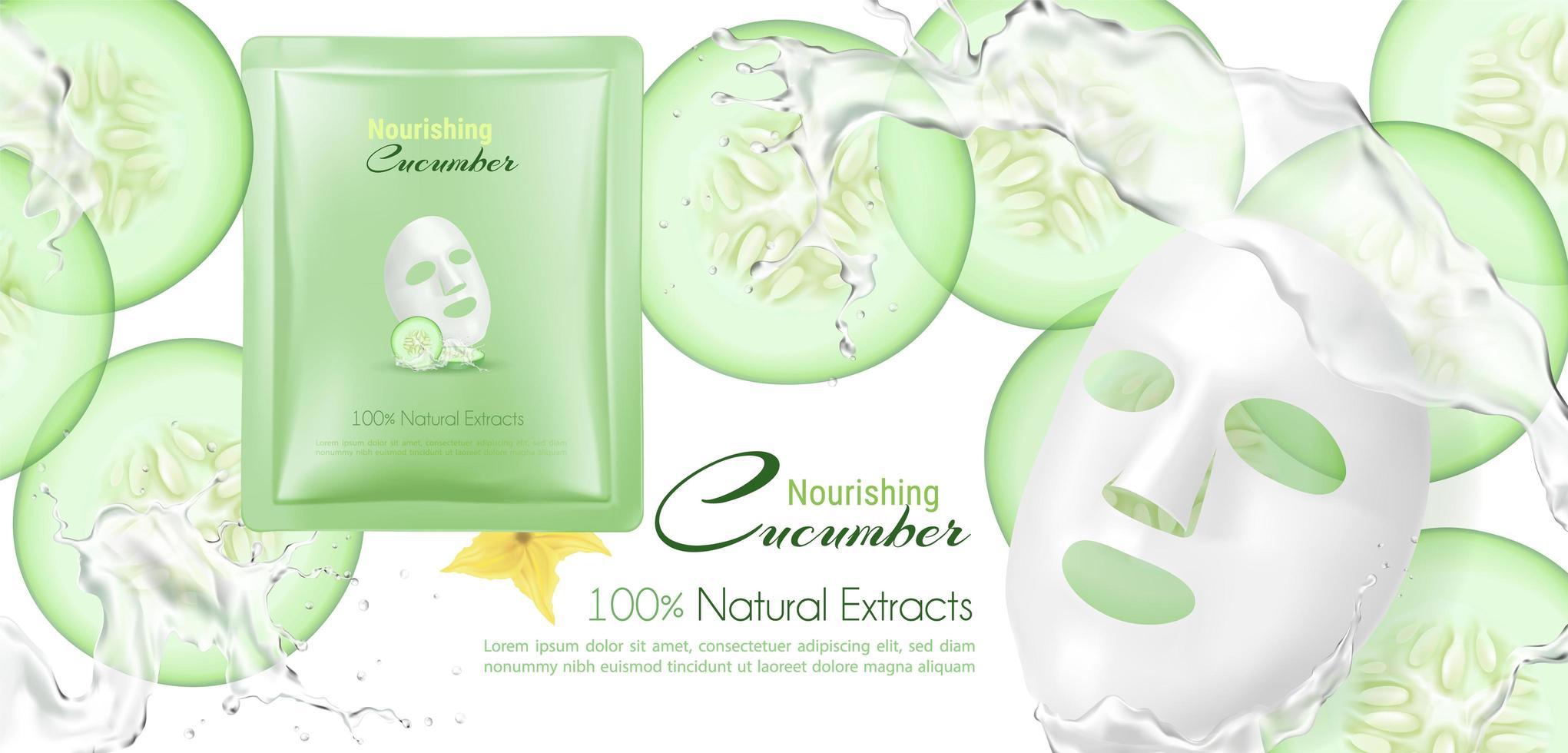 crema natural con fondo de pepino vector