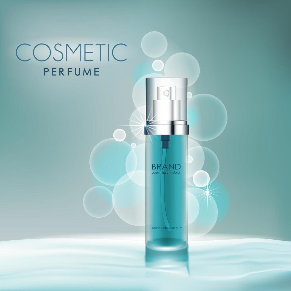 parfumfles op waterachtergrond vector