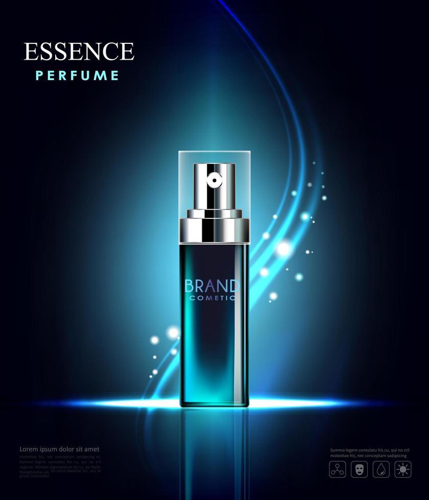 flacone spray cosmetico con sfondo azzurro vettore