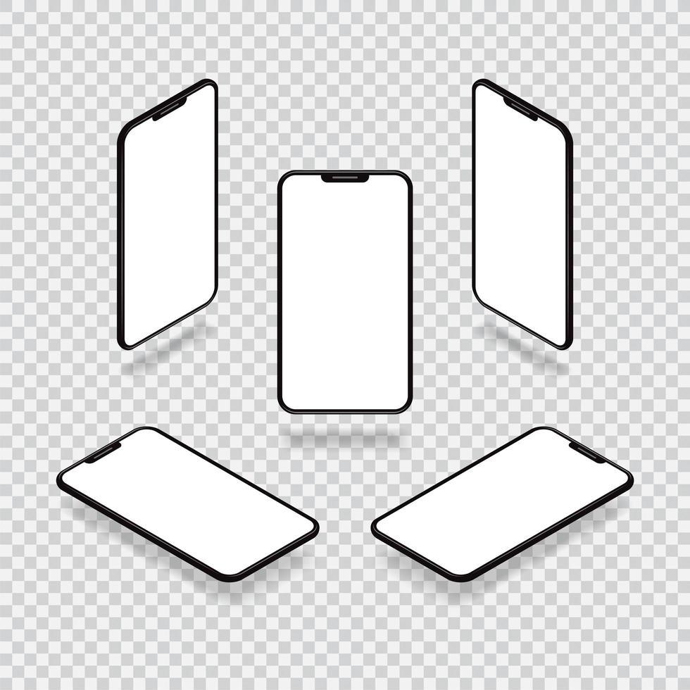 ángulos de maquetas de teléfonos inteligentes vector