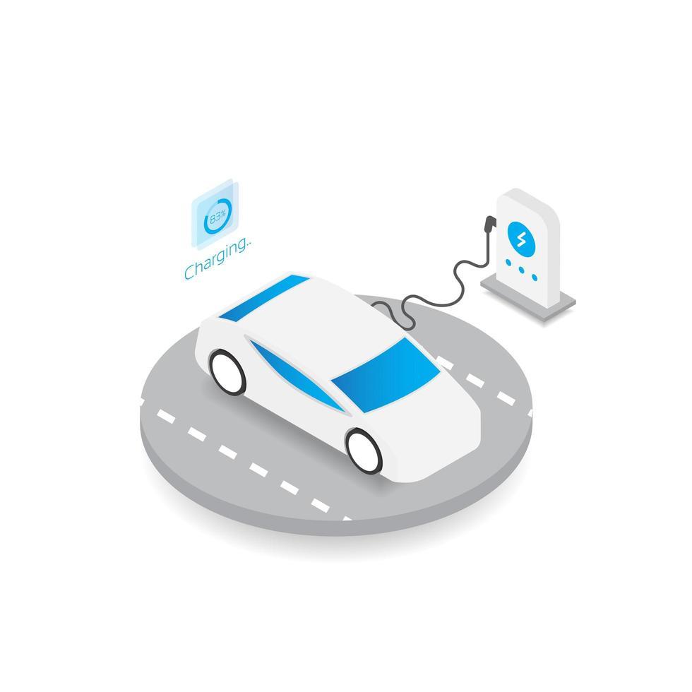 tecnología de automóviles eléctricos vector