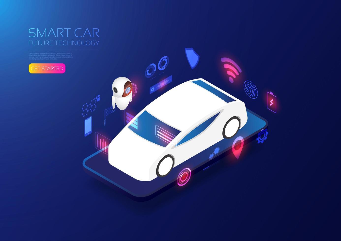 sitio web isométrico del coche inteligente vector