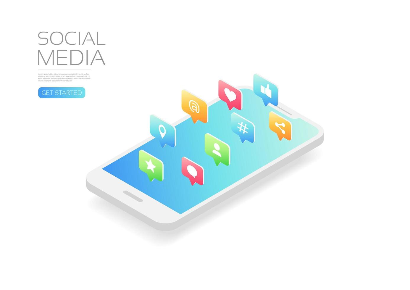 Social Media Icons vom Smartphone vektor