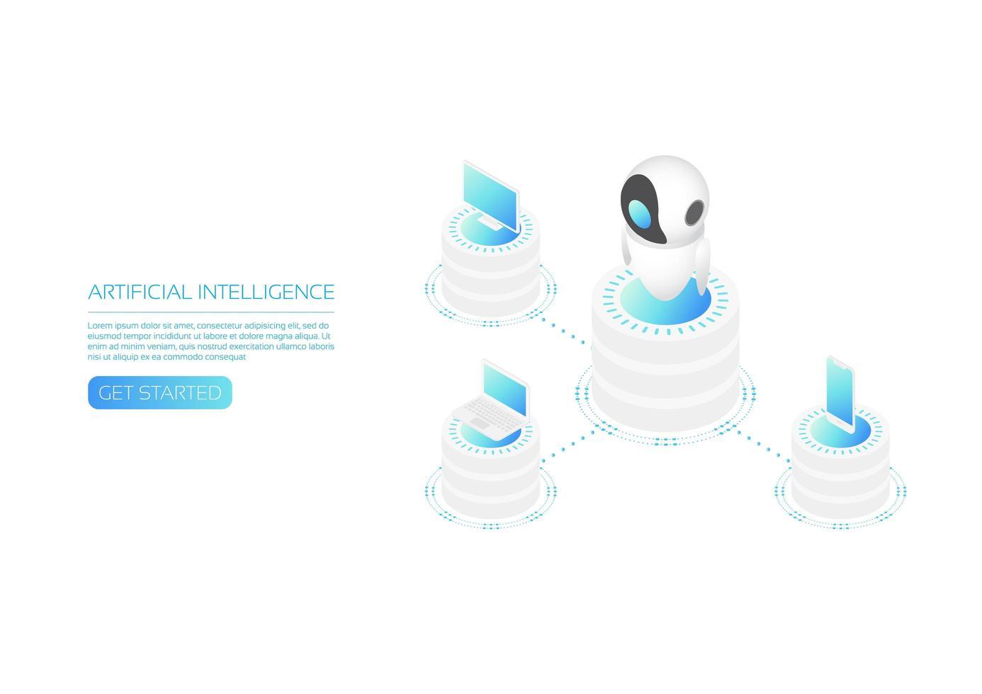 página de inicio isométrica de tecnología ai vector