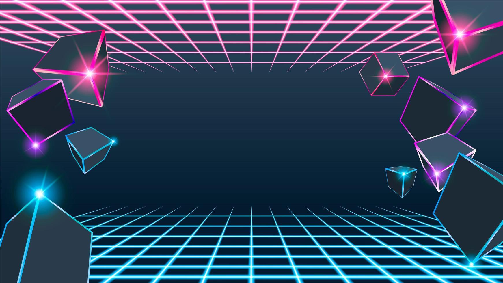 3d Cube Pink And Blue Neon Box Download Free Vectors Clipart Graphics Vector Art