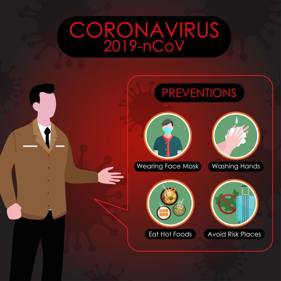 presentador de noticias hablando sobre la prevención covid-19 vector