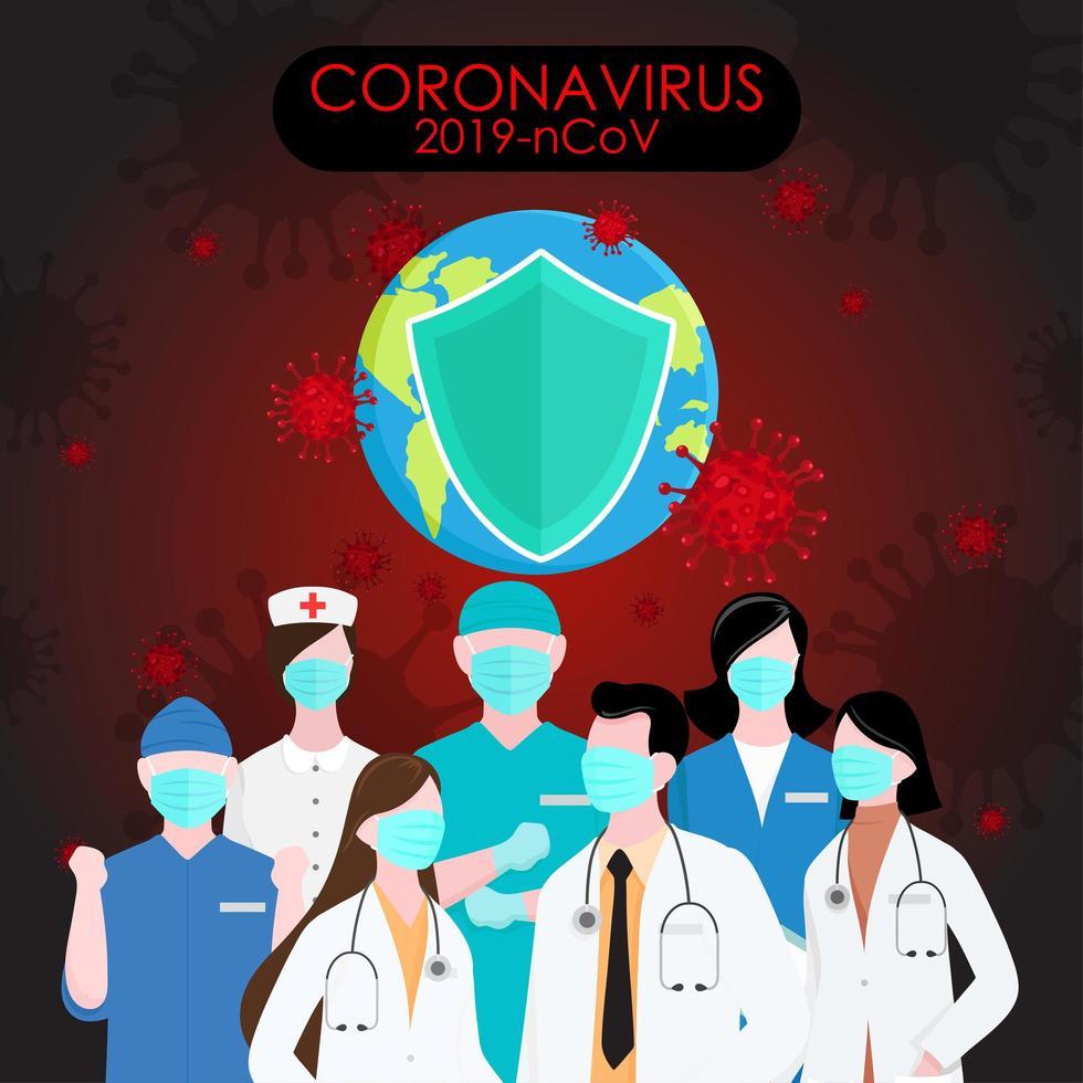 covid 19 póster con trabajadores de la salud vector