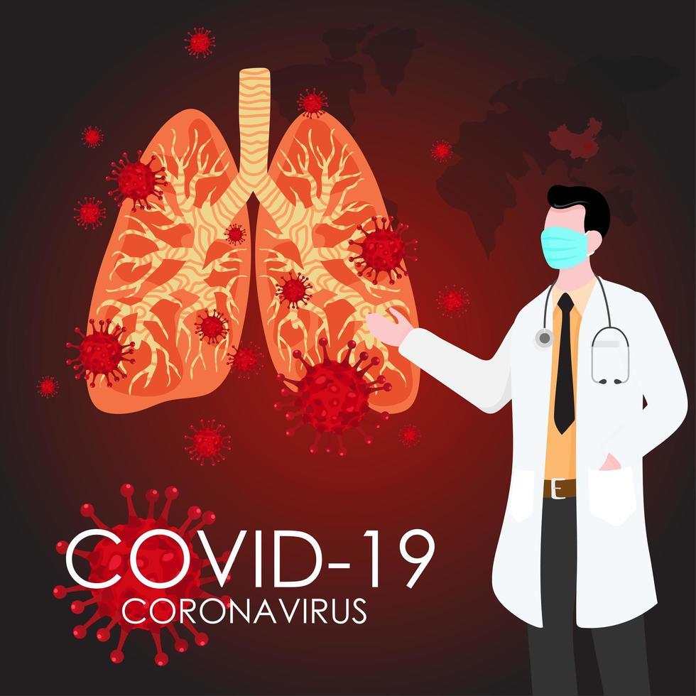 Doctor mostrando el virus covid-19 dentro de un par de pulmones vector