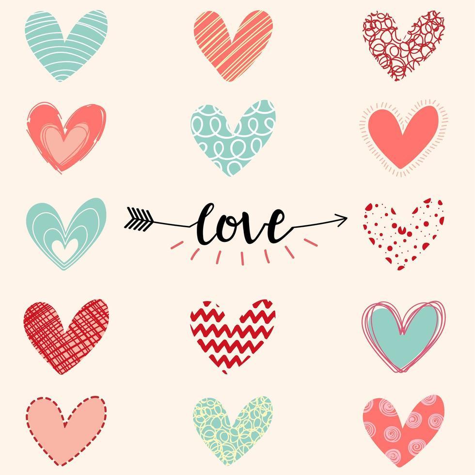 corazones dibujados a mano san valentín amor saludo vector