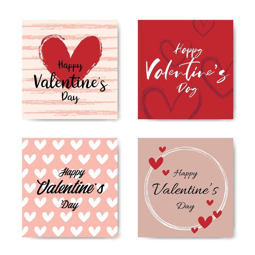 feliz día de san valentín conjunto de tarjetas de letras a mano vector