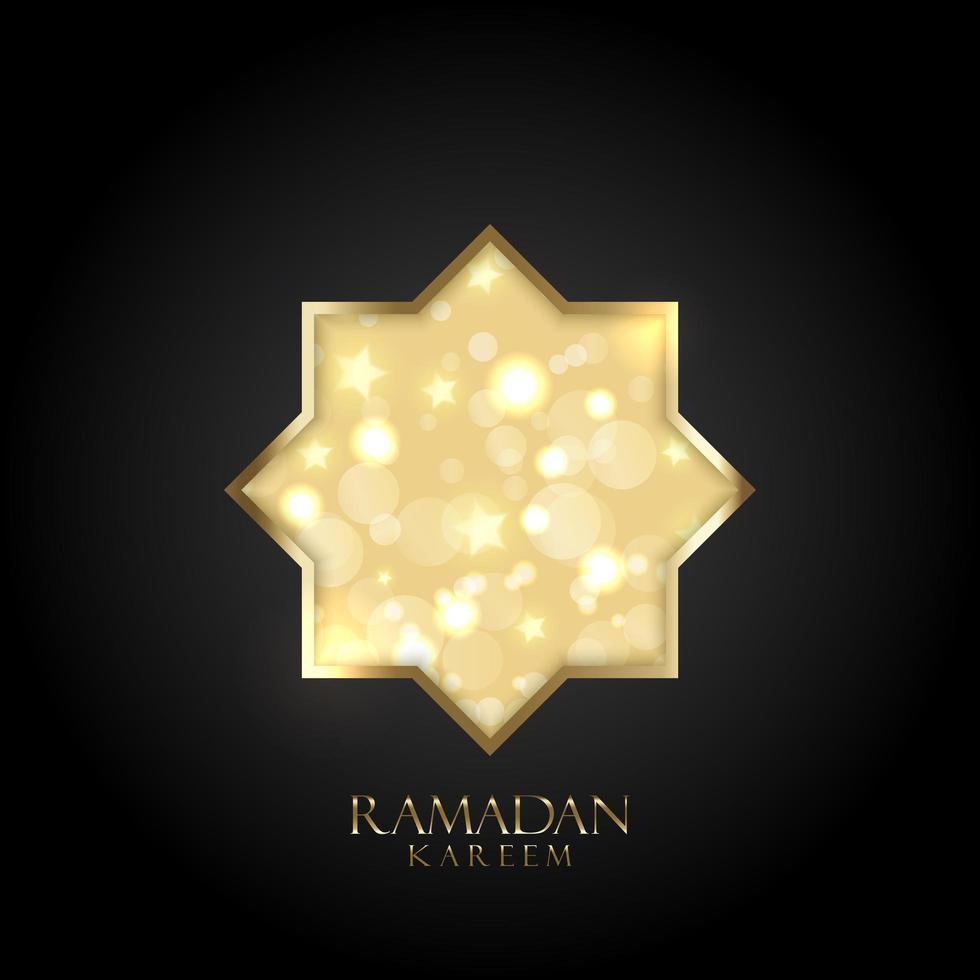 Fondo de Ramadán Kareem con luces doradas bokeh y estrellas vector