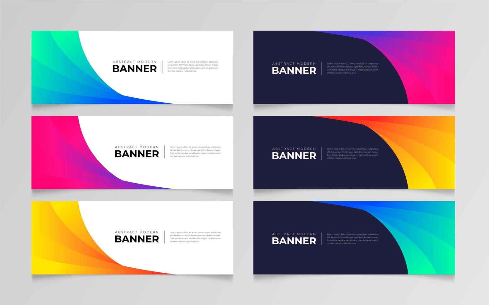 conjunto de banner abstracto degradado colorido vector