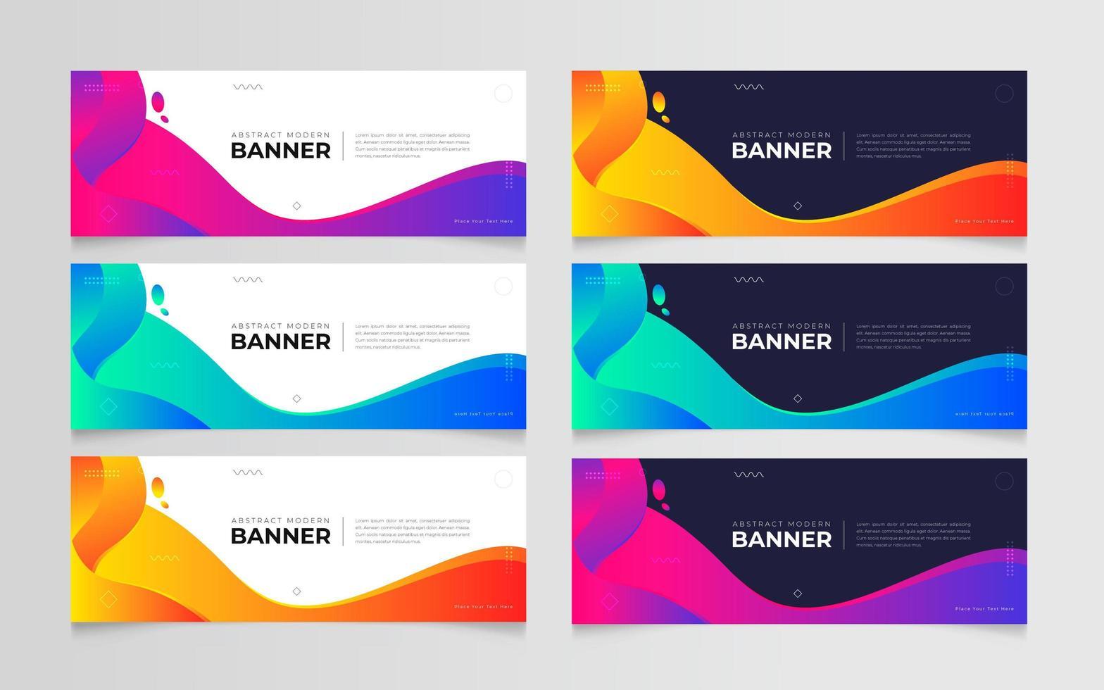 plantilla de conjunto de banner degradado abstracto moderno vector