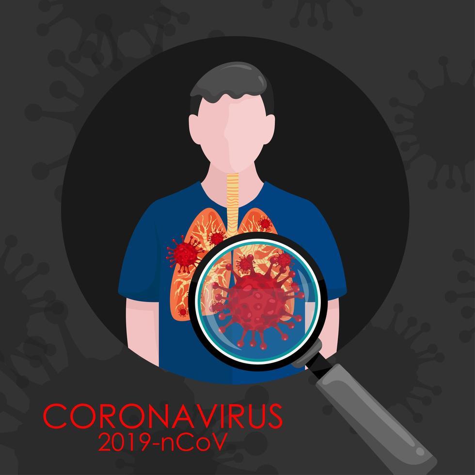 covid-19 nos pulmões do homem vetor